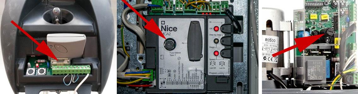 Приклад розташування запобіжників в автоматиці Nice